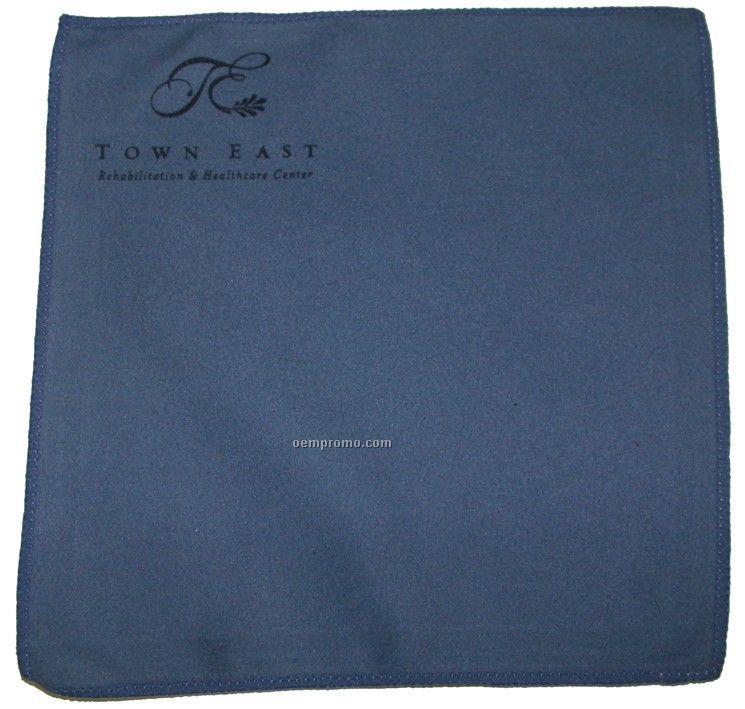 "Premium 12"" X 12"" Blue Opticloth With Laser ""Engraved"" Imprint"