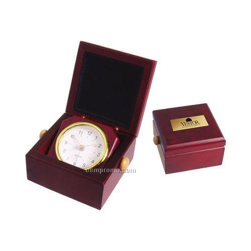 Square Rosewood Finish Clock In Desk Box
