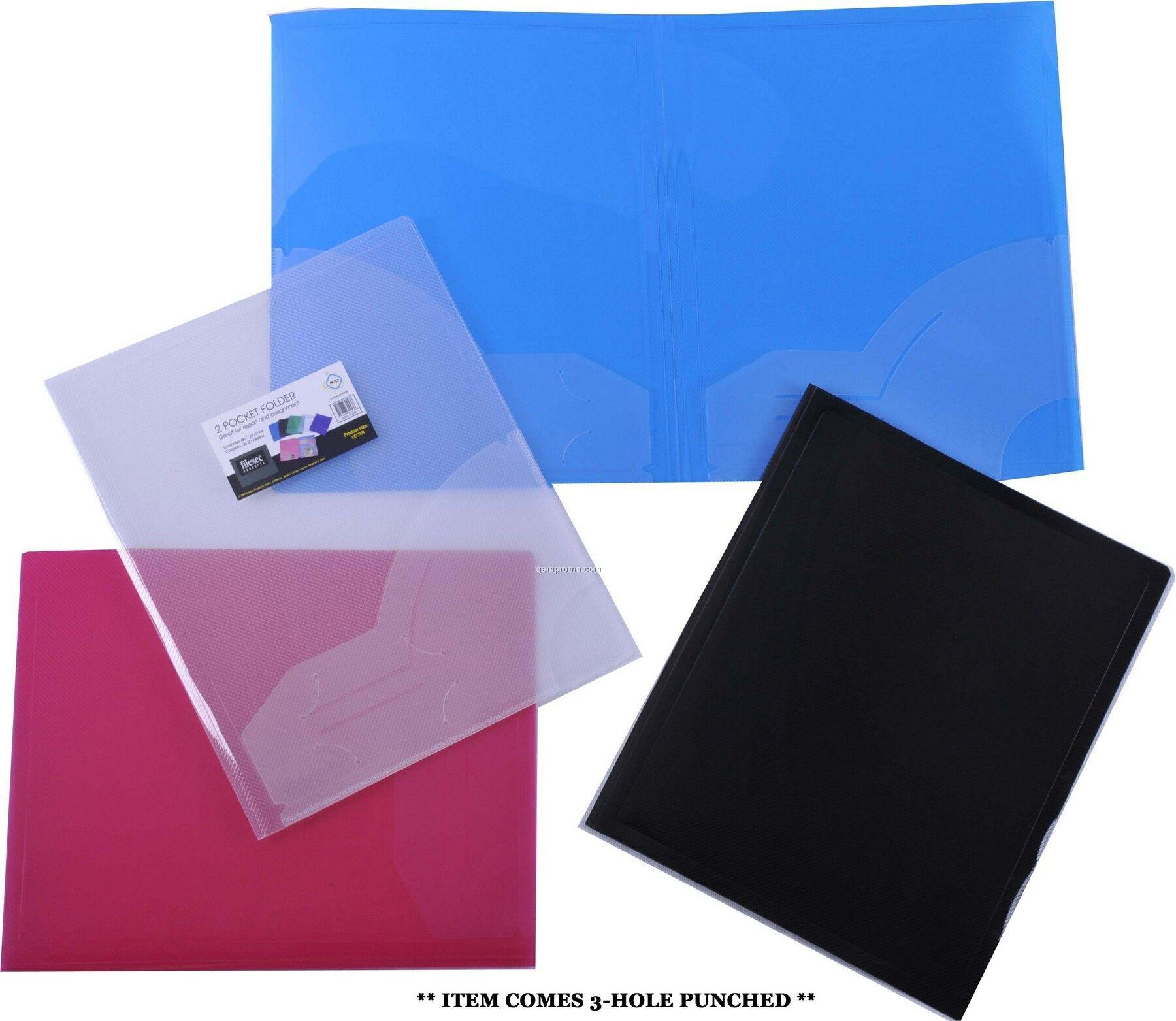 Clear 3-hole Punched 2 Pocket Folder
