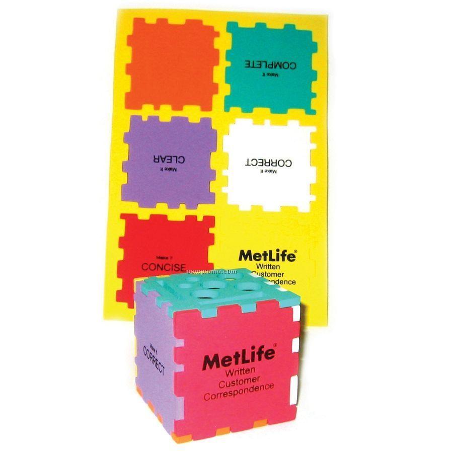 Foam Desktop Puzzle Cube Organizer - Mixed Colors (3