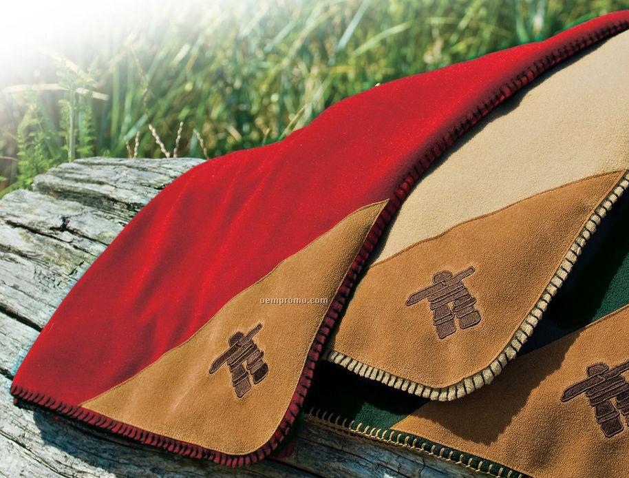 Red Eco Fleece Blanket W/ Embroidered Inukshuk