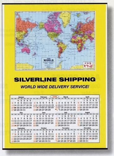 "Jumbo World Map Wall Calendar (28""X40"")"