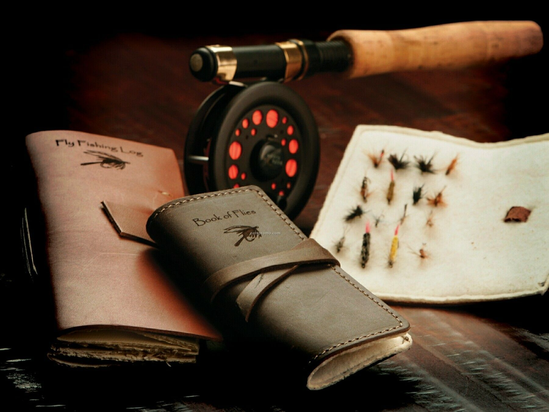 Leather Book Of Fishing Flies Holder