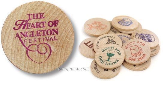 Wooden Nickel - Stock Lucky Wooden Nickel Logo