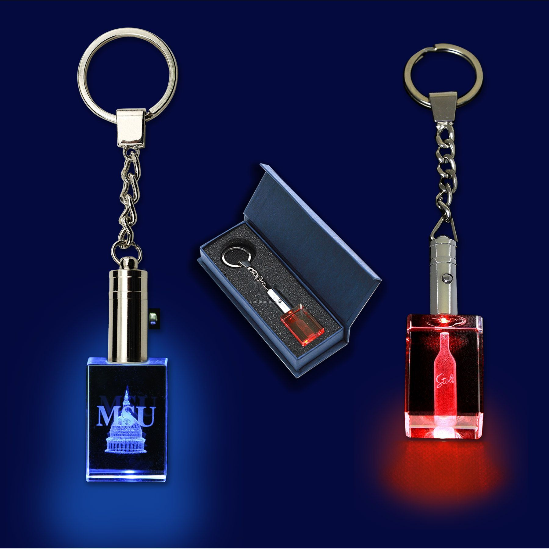 Crystal Keytag With Lasered Imprint And LED
