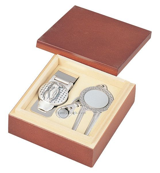 Money Clip And Divot Ball Marker Key Chain Set In Wood Box