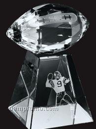 Medium Optical Crystal Faceted Football W/ Tall Base Award