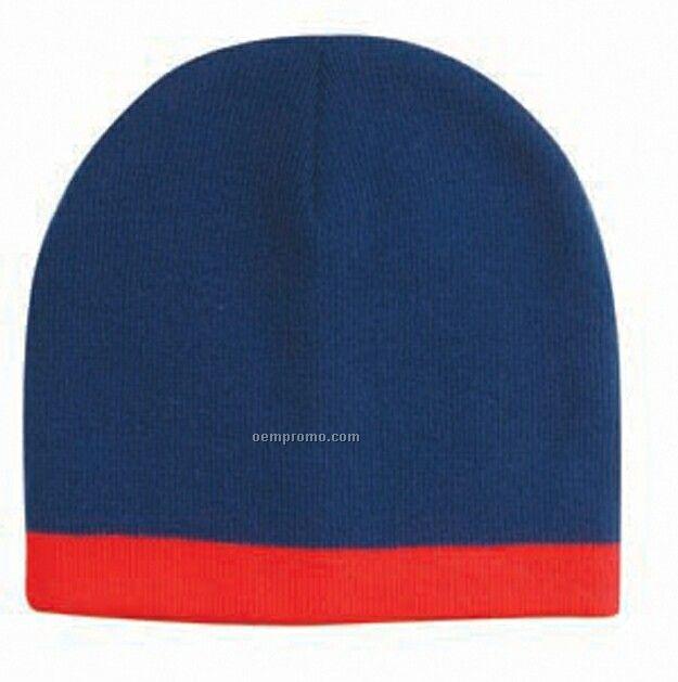 """8"""" Contrast Trim Acrylic Knit Beanie Hat"""