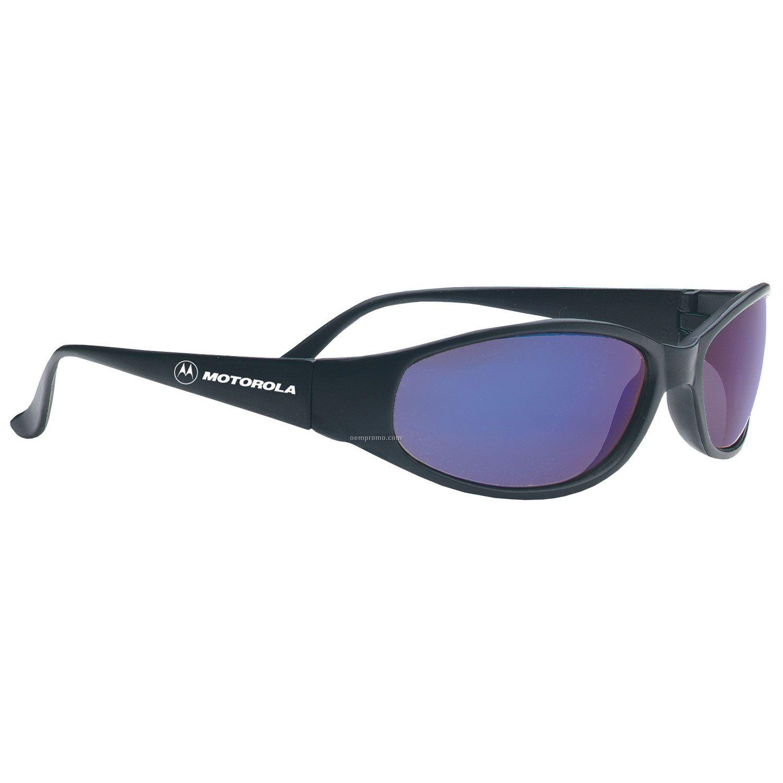 Sport Wraps Island Wrap Black Frame Sunglasses W/ Blue Or Smoke Lens