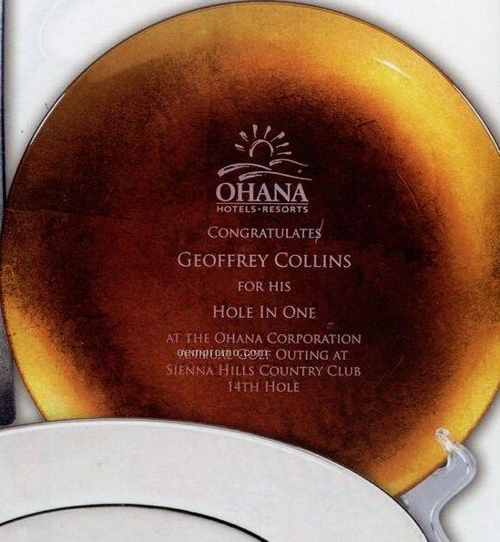 "10"" Gold Or Silver Leaf Square Crystal Glass Dinner / Trophy Plate"