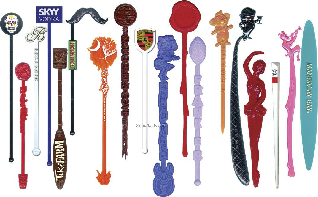 """6"""" Custom Molded And Decorated Beverage Stirrers"""