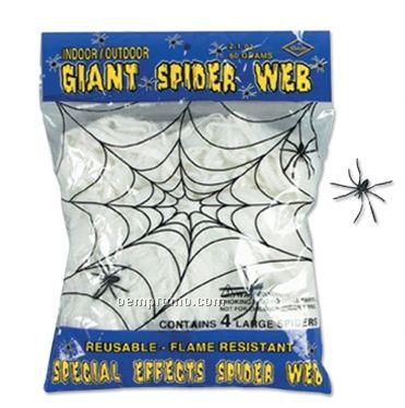 Giant Spider Web W/ 4 Spiders