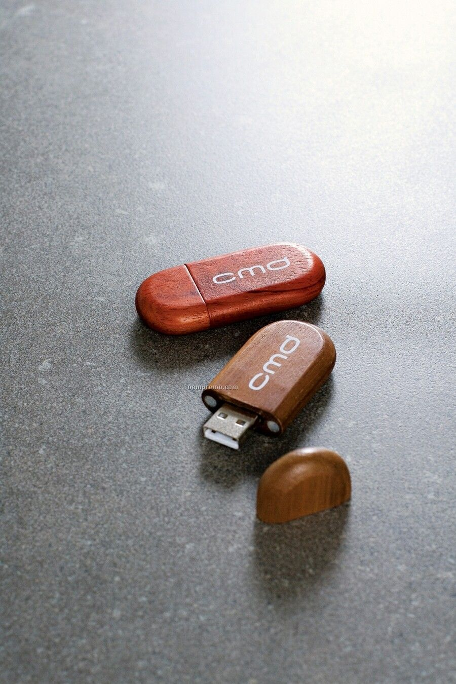 Wood Flash Drive W/ Rounded Edge Rectangle Case