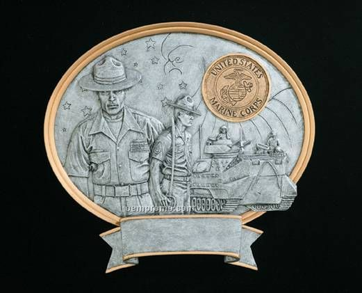Marine, Male Oval Legend Plates - 8""
