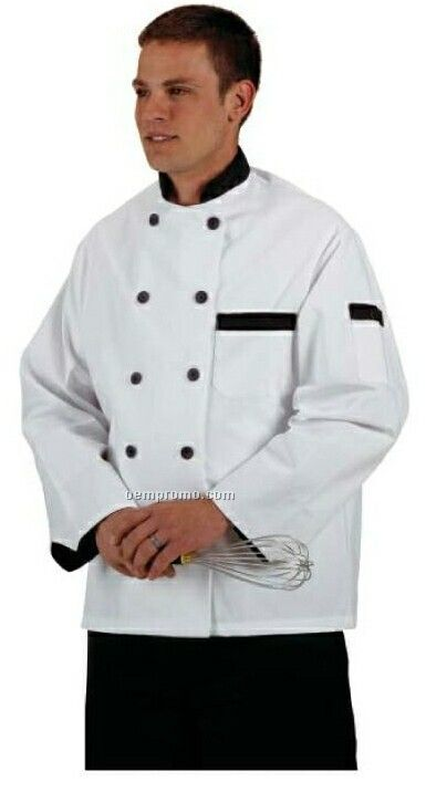 Cook's Fashion White Chef Coat W/ Black Trim (S-xl)