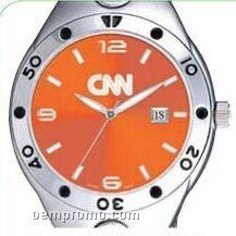 Pedre Men's Orange Dial Monaco Metal Watch W/ Stainless Steel Bracelet