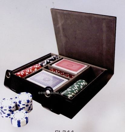 Two Deck Poker Set With Poker Chips & Dice