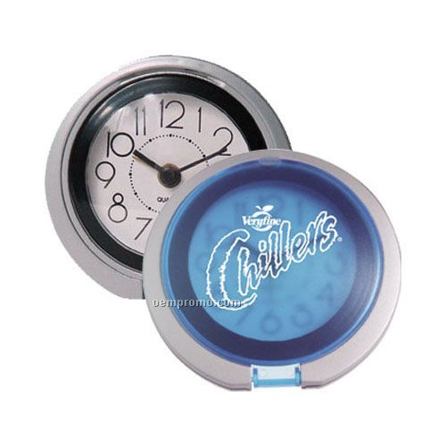 Flip Open Travel Alarm Clock With Translucent Blue Lid