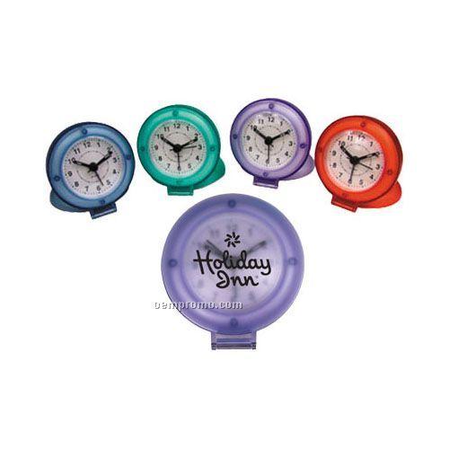 Flip Open Travel Alarm Clock With Translucent Case