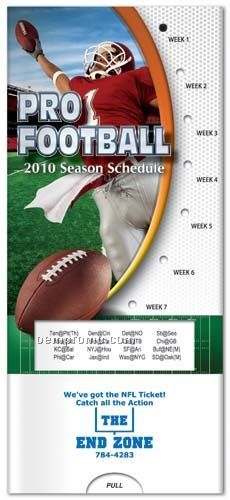 Pro Football 2010 Schedule - Pocket Slider Chart/ Brochure