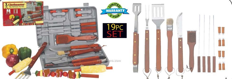 Chefmaster 19 PC Barbeque Tool Set