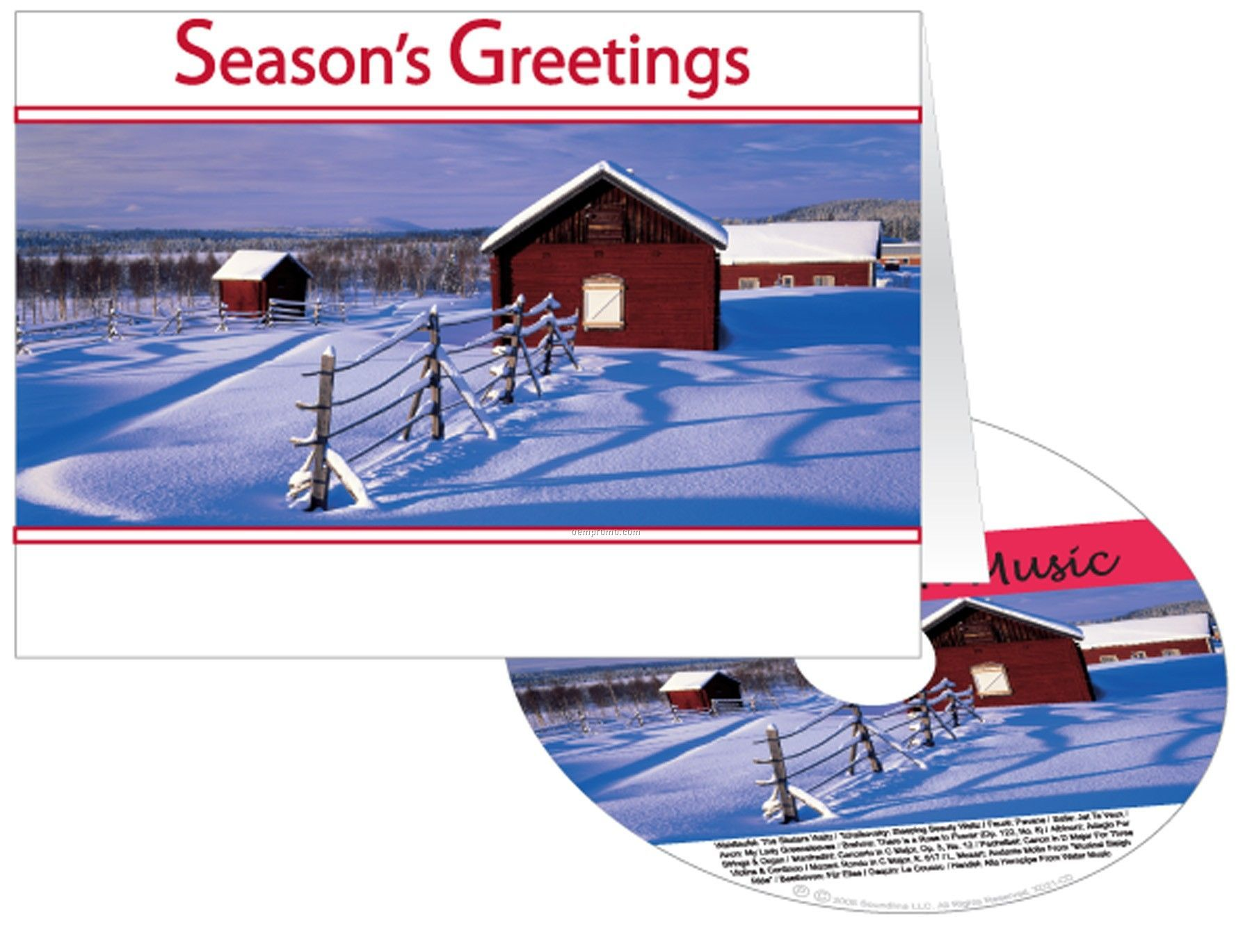 Snowy Farm Holiday Greeting Card W/ Matching CD