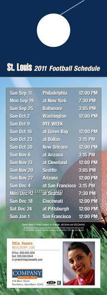 """St. Louis Pro Football Schedule Door Hanger (4"""" X 11"""")"""