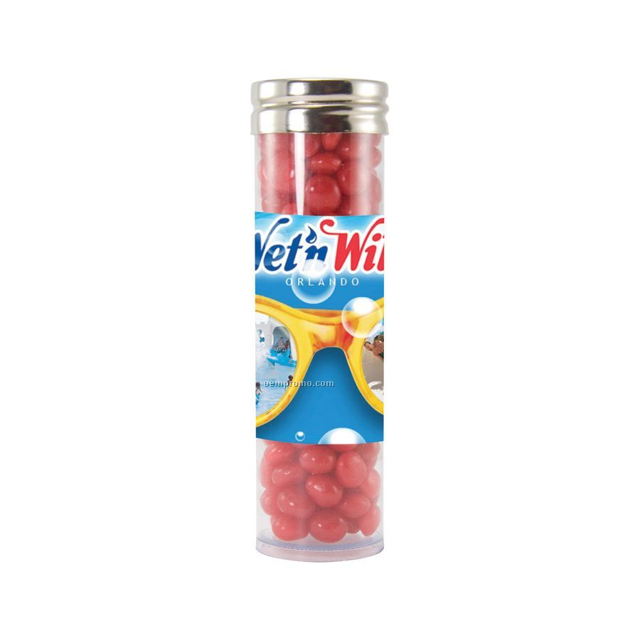 Large Gourmet Plastic Candy Tube With Cinnamon Red Hots