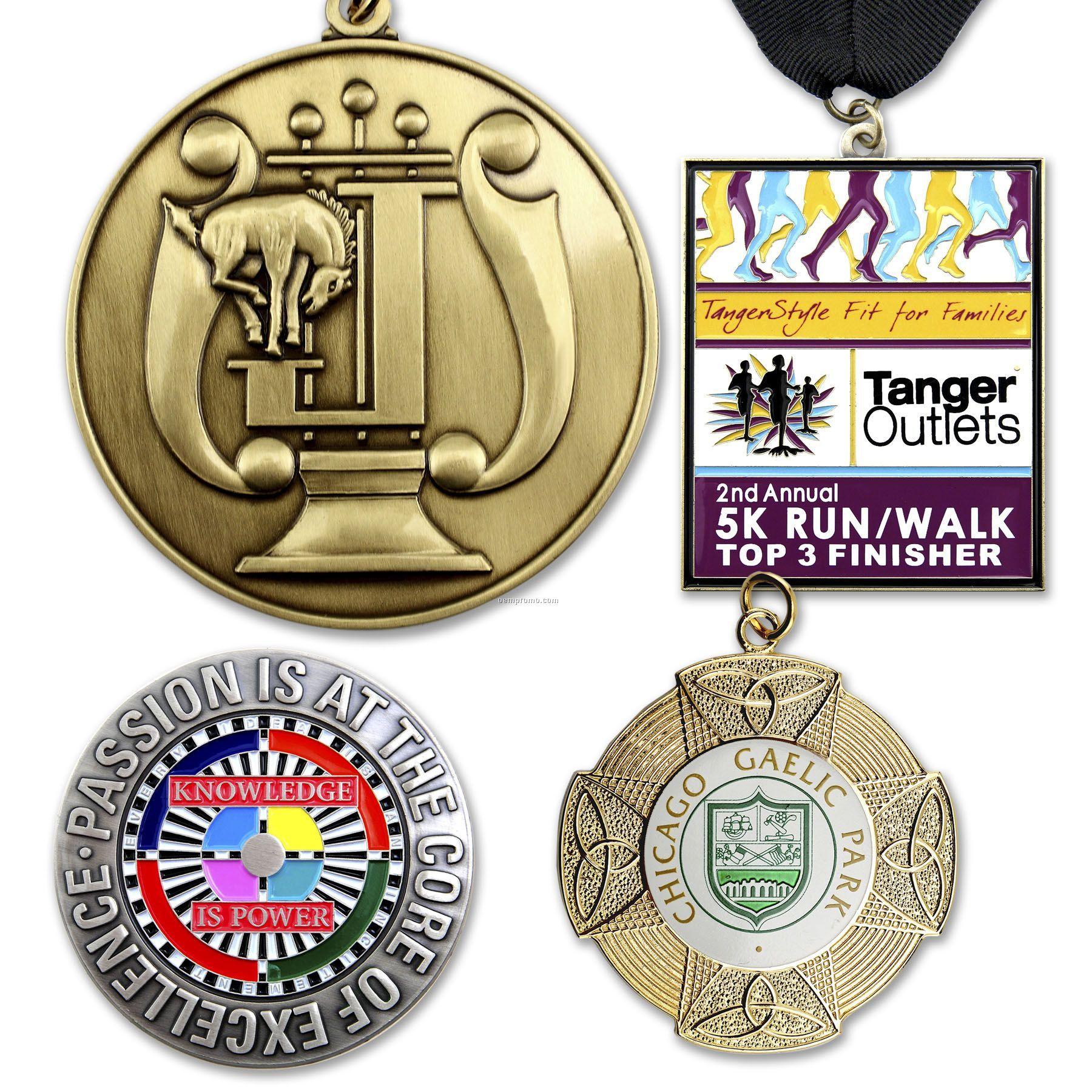 "Die Struck Brass Medal Or Charm (1-3/4"")"