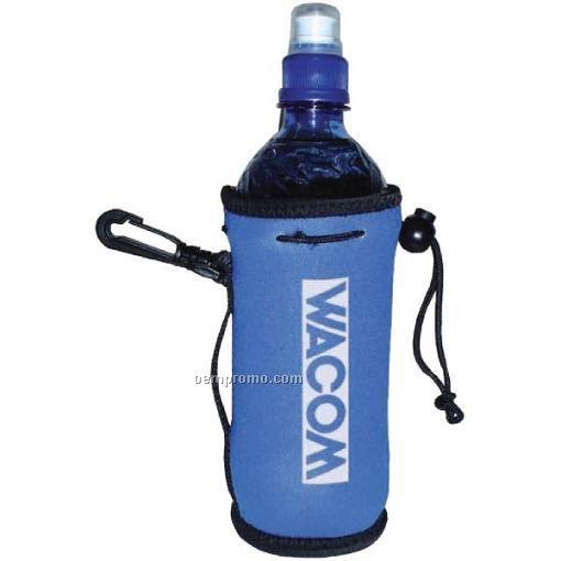 Elite Collapsible Neoprene Bottle Bags W/ Clip & Handle & Drawstring