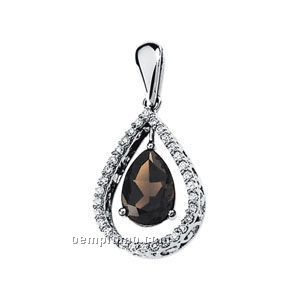 14kw Genuine Smoky Quartz And Diamond Pendant