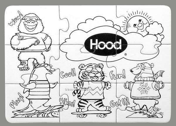 9-piece Coloring Puzzle With Crayons - Cool Animals - 1 Color