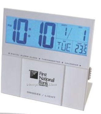 Jumbo El Back Light Lcd Desk Alarm Clock/ Thermometer