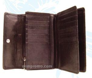 Ladies' Medium Brown Stone Wash Fixed Flap Wallet