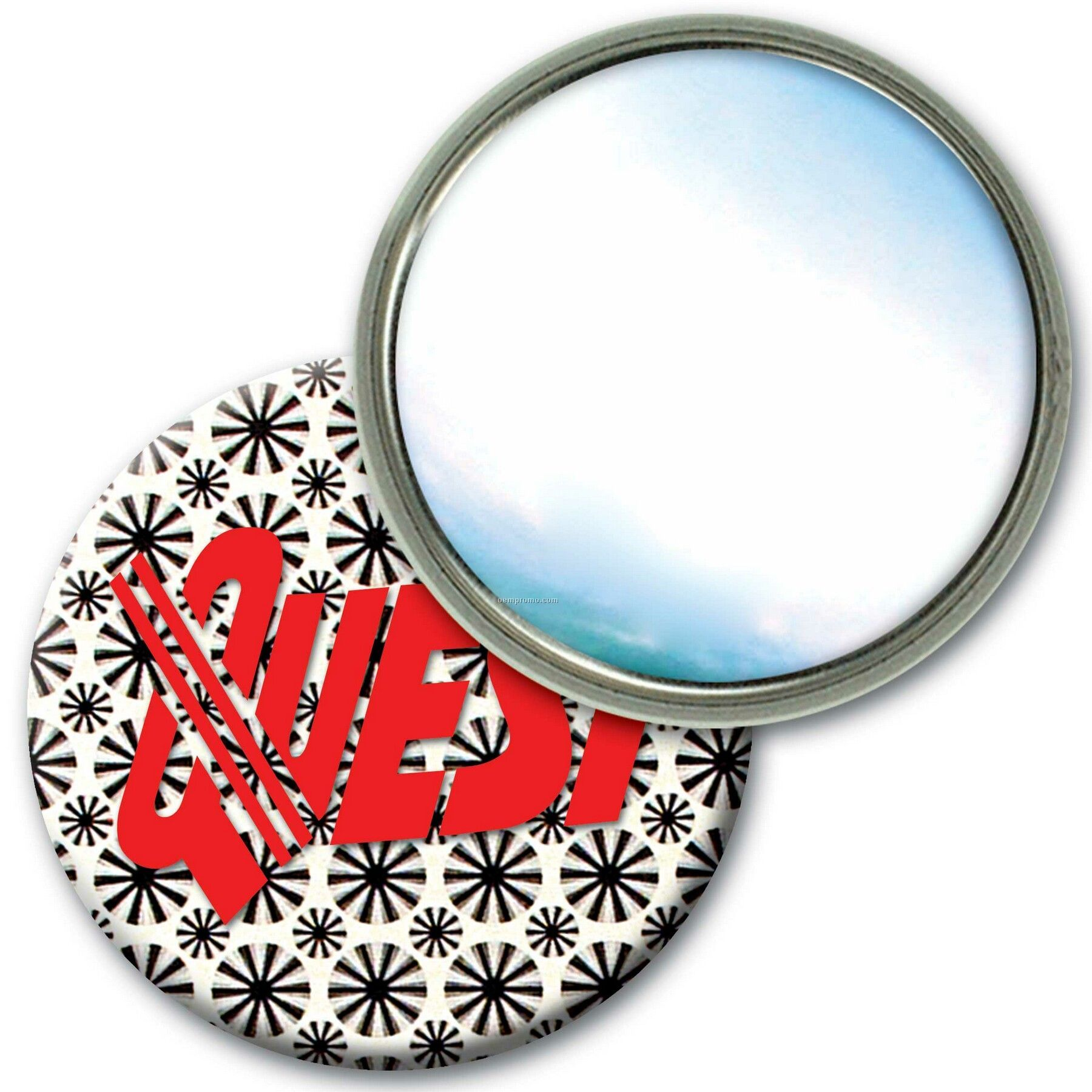 Compact Mirror W/3d Lenticular Animated Black And White Wheels (Custom)