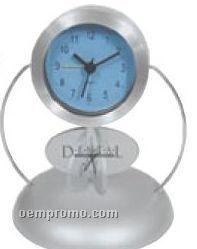Rotating Ad Aluminum Desk Clock With Alarm