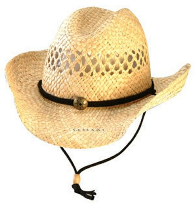 Western Straw Hat W/ Braid & Sun Brass