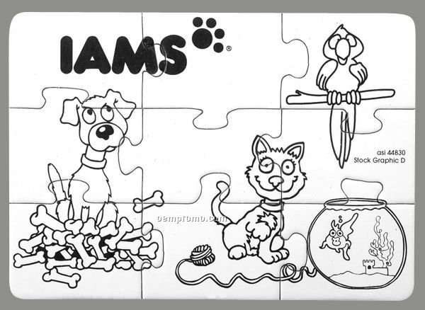 9-piece Coloring Puzzle With Crayons / Pets - 1 Color