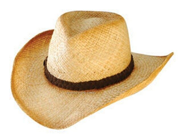 f2e148f115d65 Cowboy Raffia Painted Edge Straw Hat W  Leather Braid