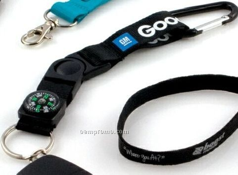 """3/4"""" Keychain Carabiner With Compass & Rush Shipping"""