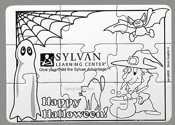 9-piece Coloring Puzzle With Crayons / Halloween - 1 Color