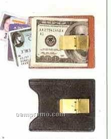 Leather Money Clip W/ Card Pocket