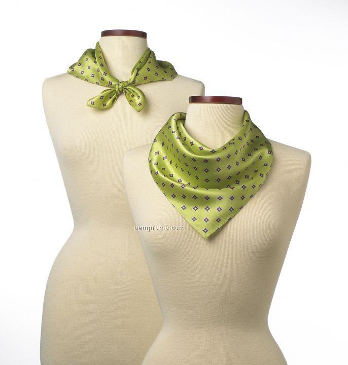 "Wolfmark Lime Green Vasari Silk Scarf (21""X21"")"