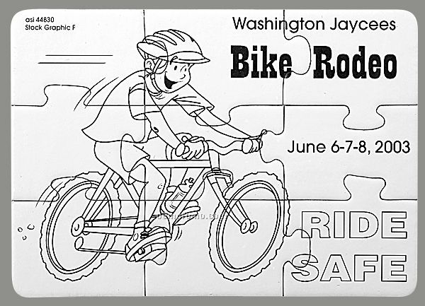 9-piece Coloring Puzzle With Crayons / Bike Safety - 1 Color