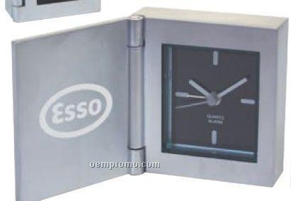 Cast Aluminum Flip Open Desk Alarm Clock