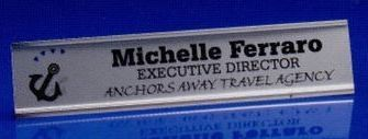 Silver Metal Nameplate Holder W/ Removable Or Slide In Plate