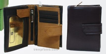 Ladies' Black Naturally Dried Cowhide Multi Section Wallet