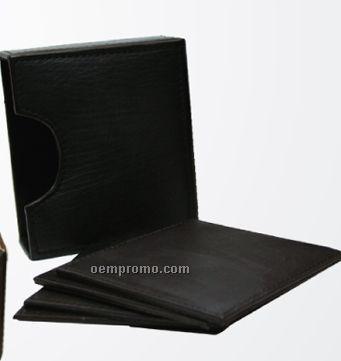 Set Of 4 Dark Brown Square Cowhide Napa Coaster W/ Closed Box