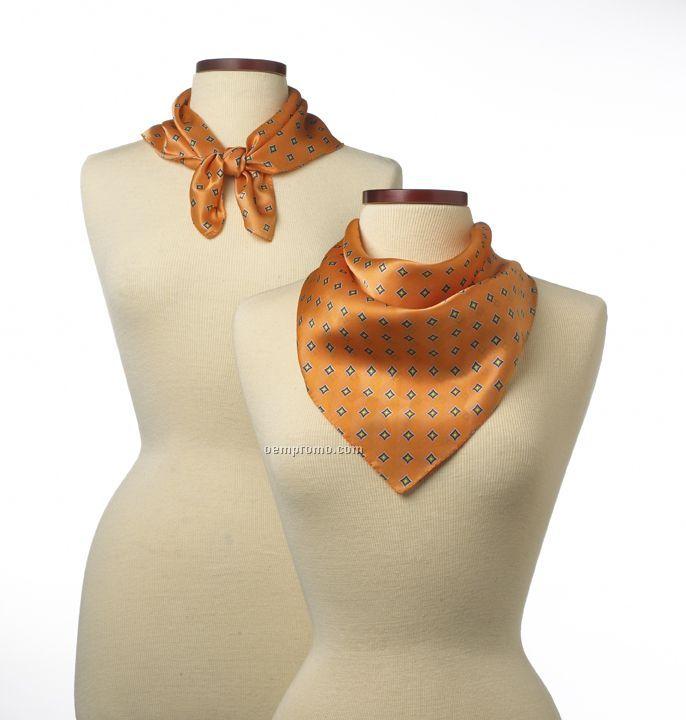 """Wolfmark Orange Vasari Silk Scarf (21""""X21"""")"""