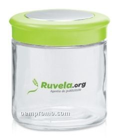 27 Oz. Logo Glass Candy Jar With Colored Lid